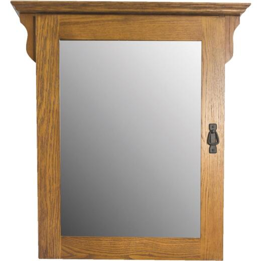 CraftMark Craftsmen Estate American Oak 30 In. W x 32 In. H x 6 In. D Single Mirror Surface Mount Medicine Cabinet