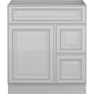 Sunny Wood Riley White with Dover Glaze 30 In. W x 34-1/2 In. H x 21 In. D Vanity Base, 1 Door/RH 2 Drawer