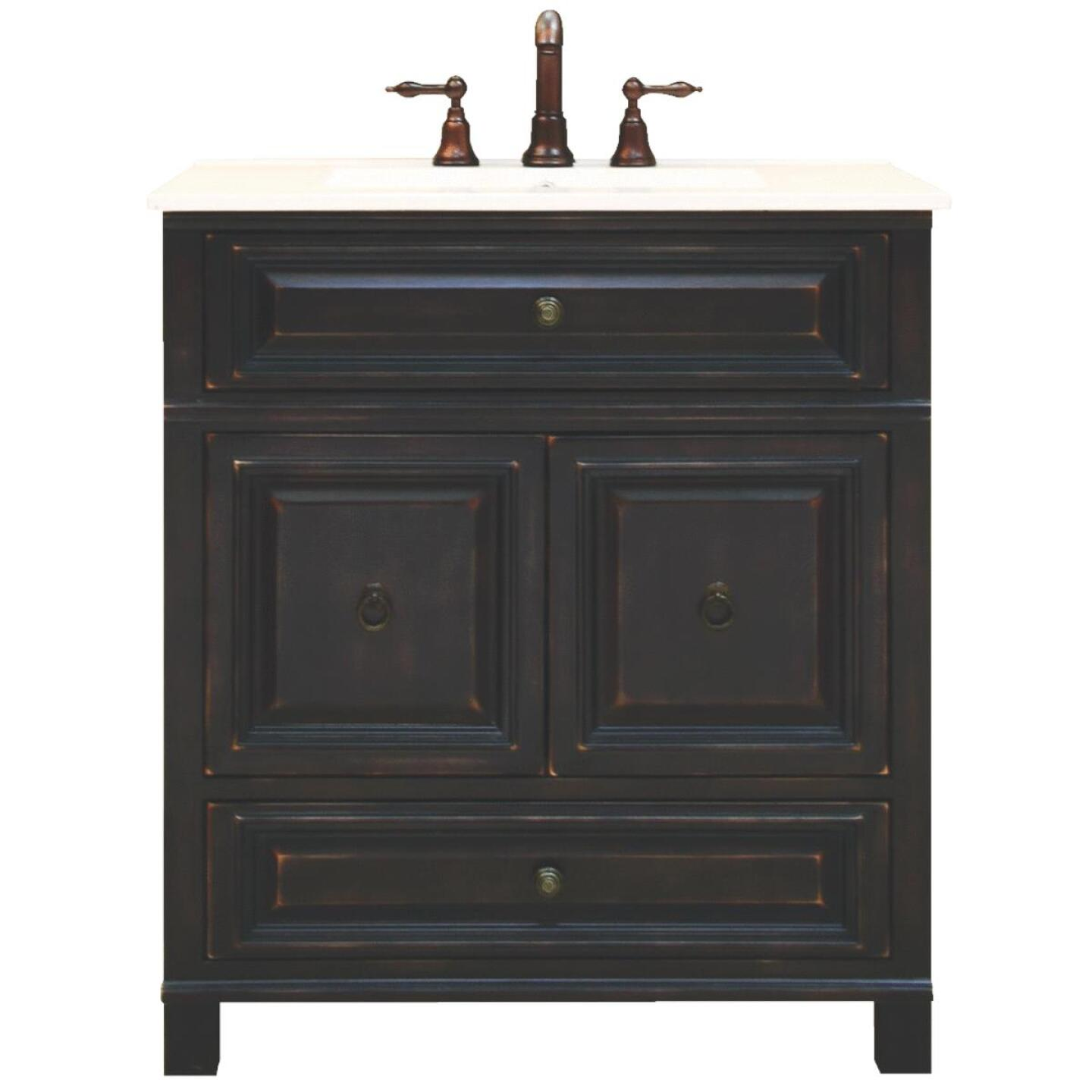 Sunny Wood Barton Hill Black Onyx 30 In. W x 34 In. H x 21 In. D Vanity Base, 2 Door/1 Drawer Image 176