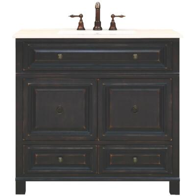 Sunny Wood Barton Hill Black Onyx 36 In. W x 34 In. H x 21 In. D Vanity Base, 2 Door/2 Drawer