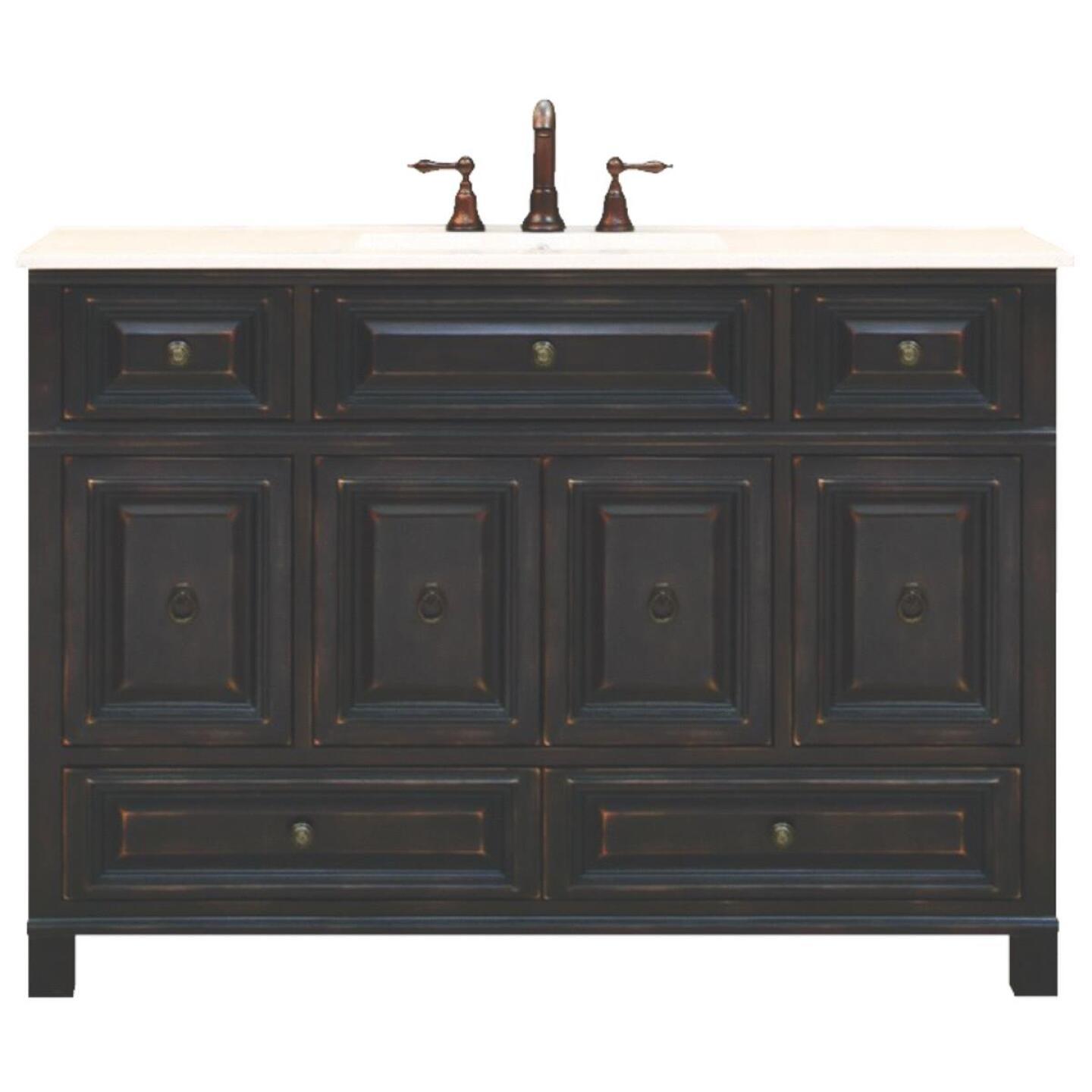 Sunny Wood Barton Hill Black Onyx 48 In. W x 34 In. H x 21 In. D Vanity Base, 4 Door/4 Drawer Image 1