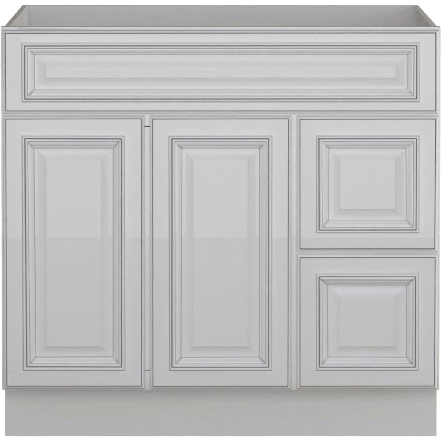 Sunny Wood Riley White with Dover Glaze 36 In. W x 34-1/2 In. H x 21 In. D Vanity Base, 2 Door/RH 2 Drawer Image 1
