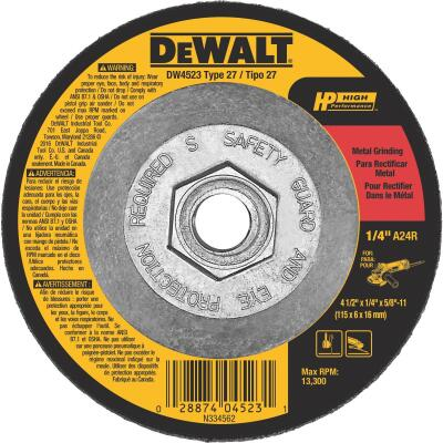 DeWalt High Performance 4-1/2 In. x 1/4 In. x 5/8 In.-11 Metal Cut-Off Wheel
