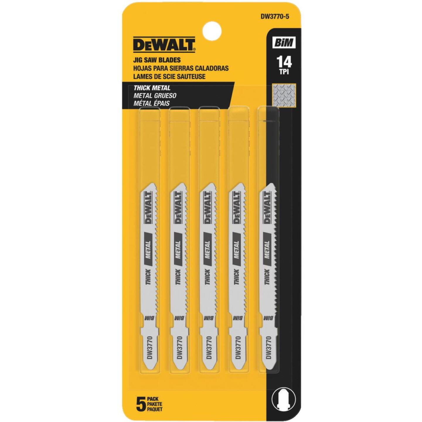 DeWalt T-Shank 3 In. x 14 TPI High Carbon Steel Jig Saw Blade, Thick Metal (5-Pack) Image 2