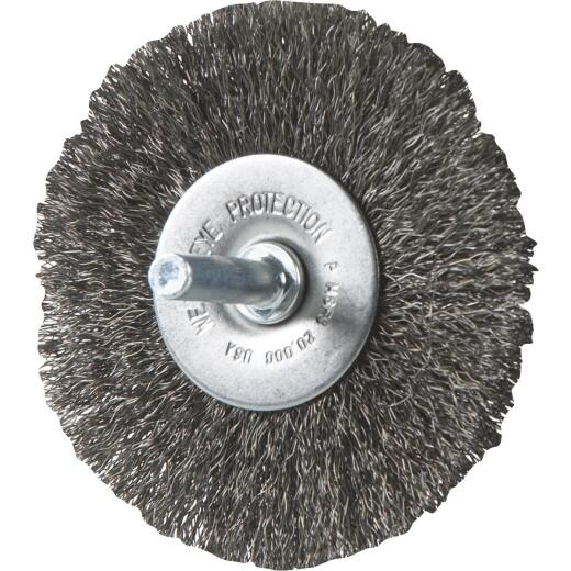 Weiler Vortec 3 In. Crimped, Fine Drill-Mounted Wire Brush