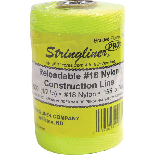 Stringliner 500 Ft. Fluorescent Yellow Braided Nylon Mason Line