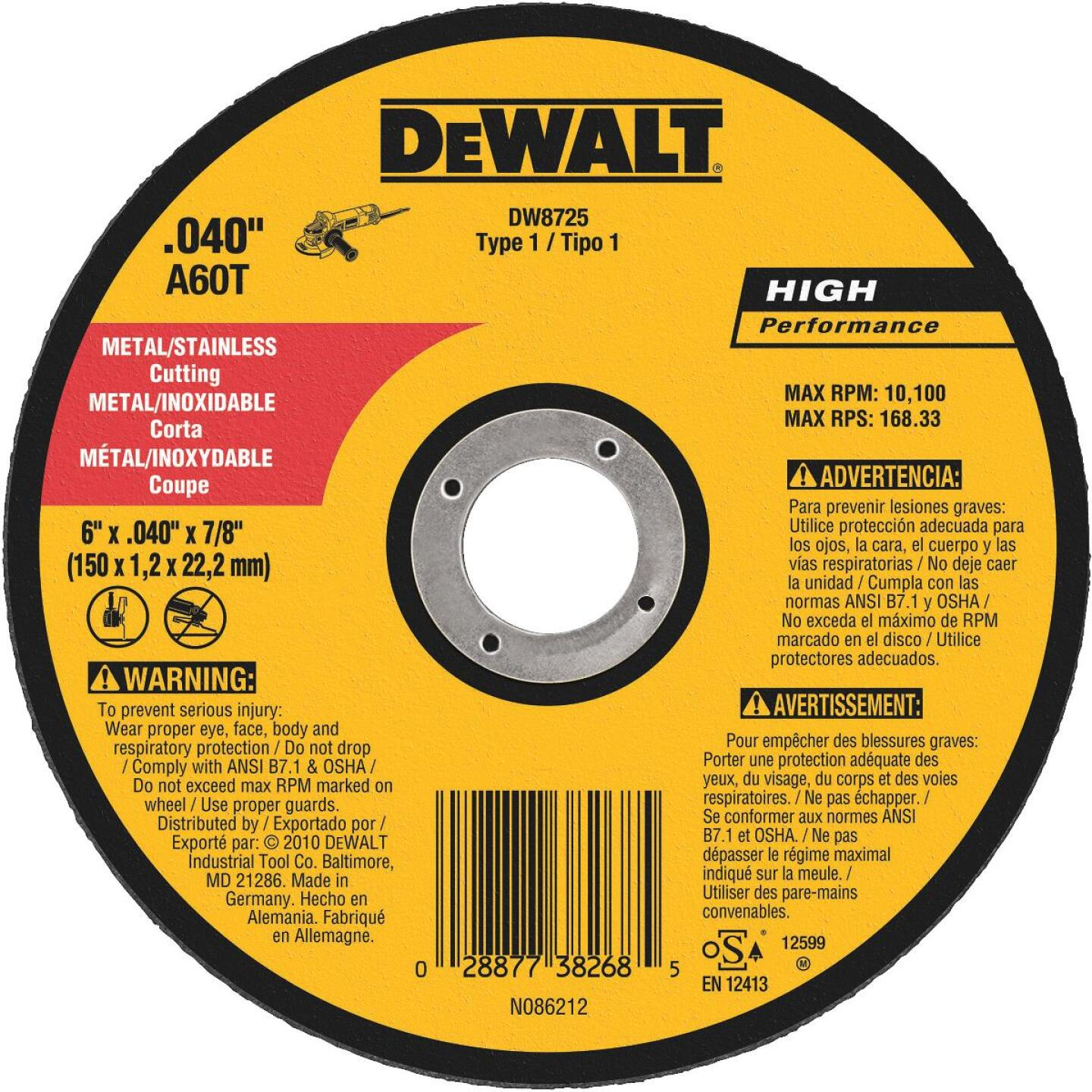 DeWalt HP Type 1, 6 In. Cut-Off Wheel Image 1