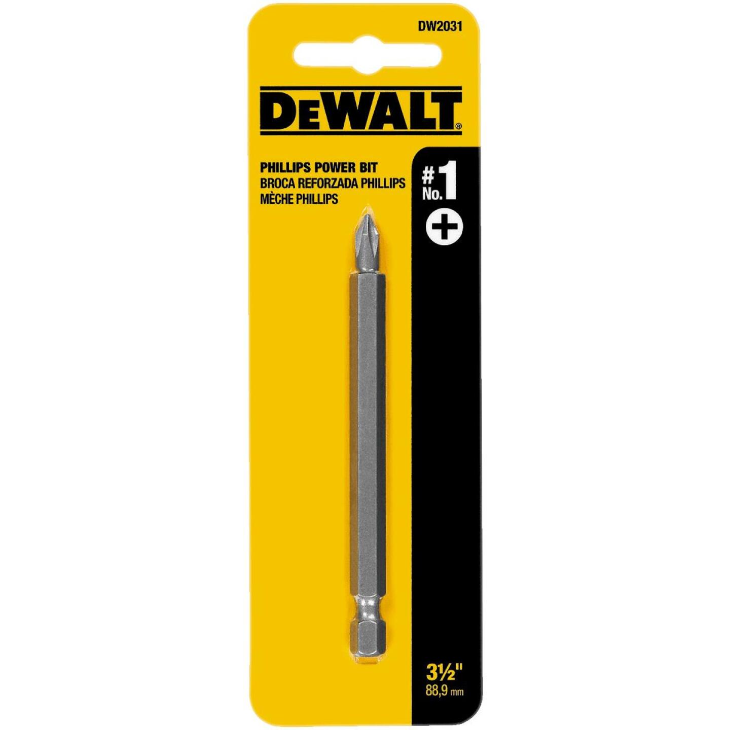 DeWalt Phillips #1 3-1/2 In. 1/4 In. Power Screwdriver Bit Image 1