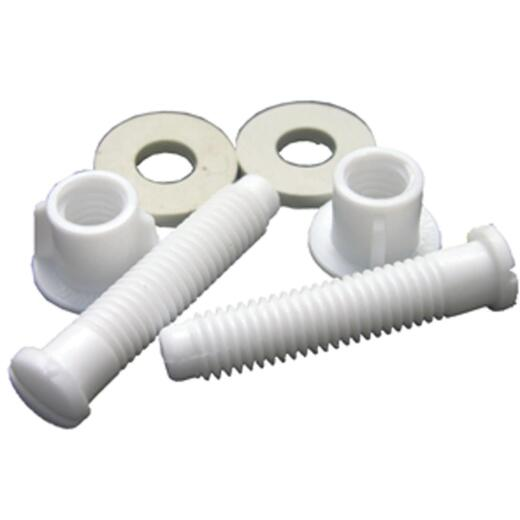 """Lasco 7/17"""" x 2-1/8"""" White Plastic Toilet Seat Bolt, Includes Nuts and Washers"""