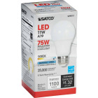 Satco 75W Equivalent Natural Light A19 Medium Dimmable LED Light Bulb Image 4