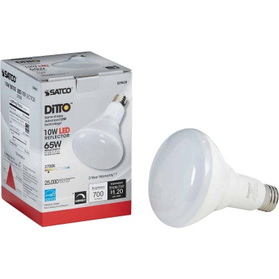 Satco Ditto 65W Equivalent Warm White BR30 Medium Dimmable LED Floodlight Light Bulb