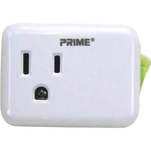 Prime Wire & Cable 1-Outlet White Plug-In Outlet with Switch