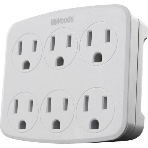Woods White 15A 6-Outlet Tap