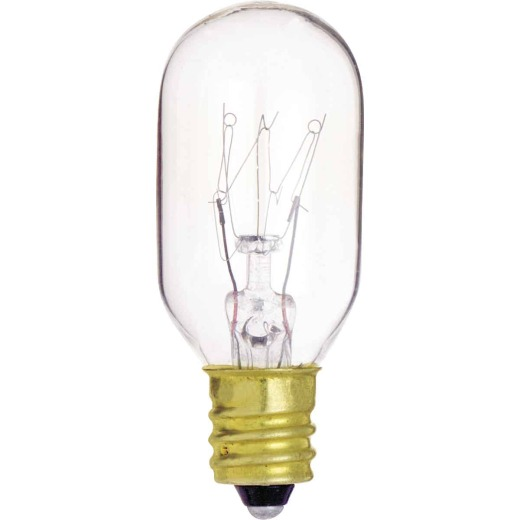 Satco 15W Clear Candelabra Base T7 Incandescent Tubular Appliance Light Bulb