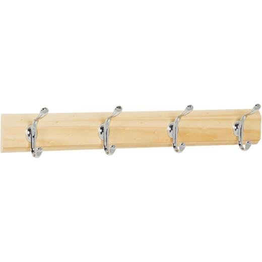 iDesign Paris Wood 4-Hook Rack