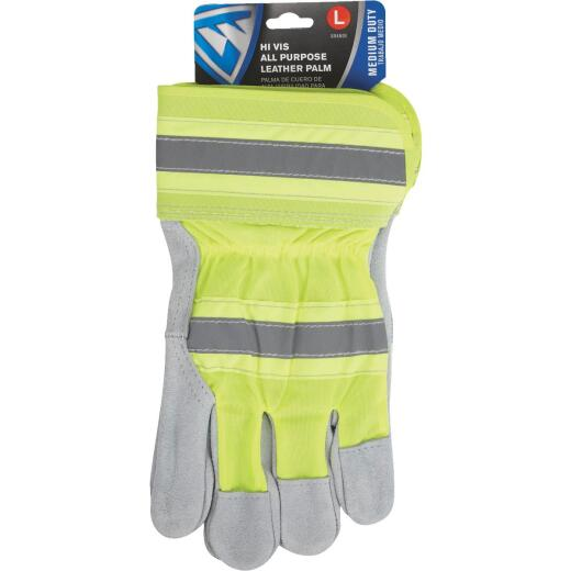 West Chester Protective Gear Men's Large Leather High Visibility Work Glove