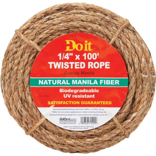 Do it 1/4 In. x 100 Ft. Natural Twisted Manila Fiber Packaged Rope